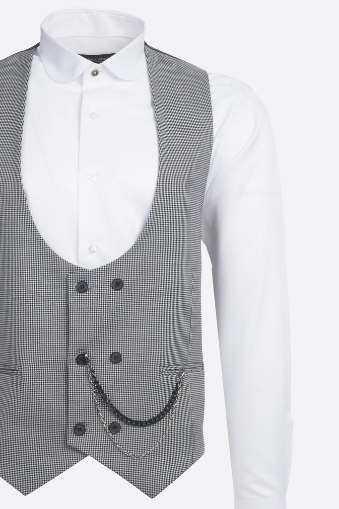 Black & White Houndstooth Wool Double Breasted Waistcoat