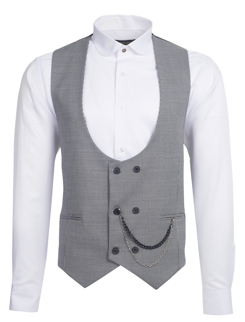 Black & White Houndstooth Wool Double Breasted Waistcoat - Jack Martin Menswear