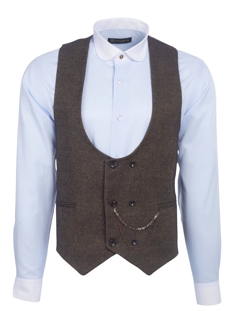 Brown Tweed Double Breasted Waistcoat - Jack Martin Menswear