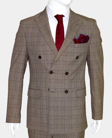 Tan Brown Prince of Wales Check Double Breasted Suit