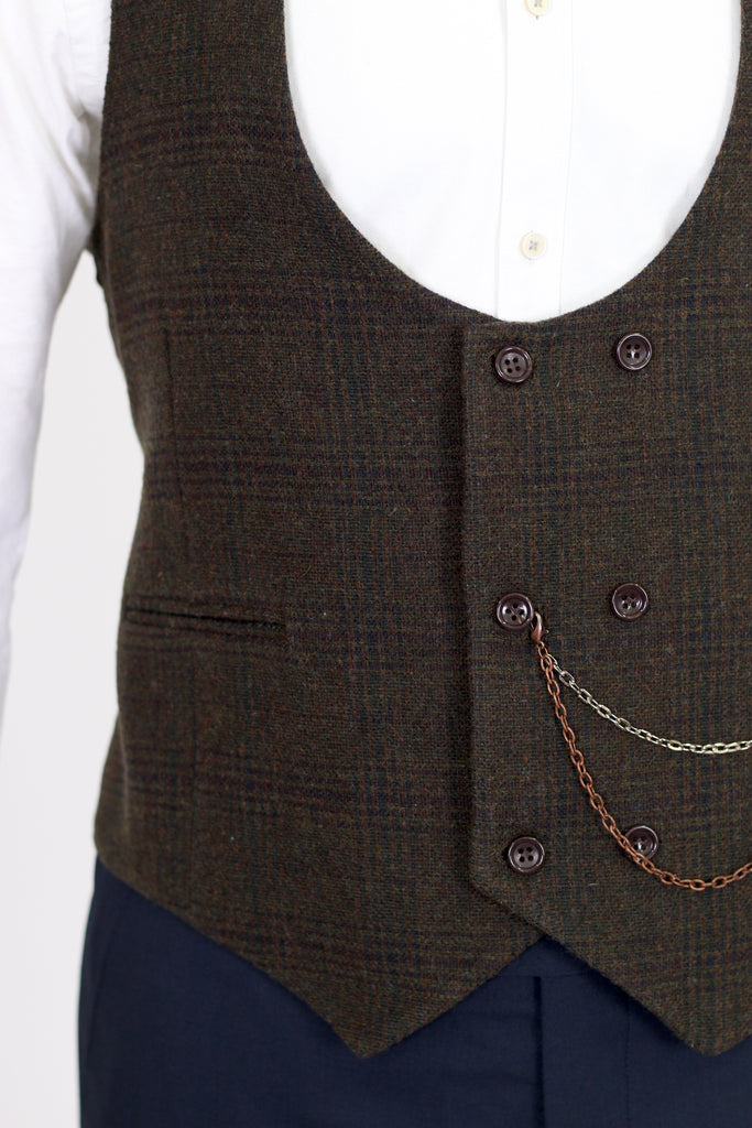 Brown & Green Check Tweed Double Breasted Waistcoat - Jack Martin Menswear
