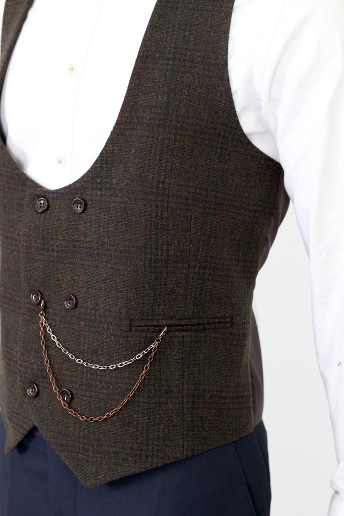 Brown & Green Check Tweed Double Breasted Waistcoat