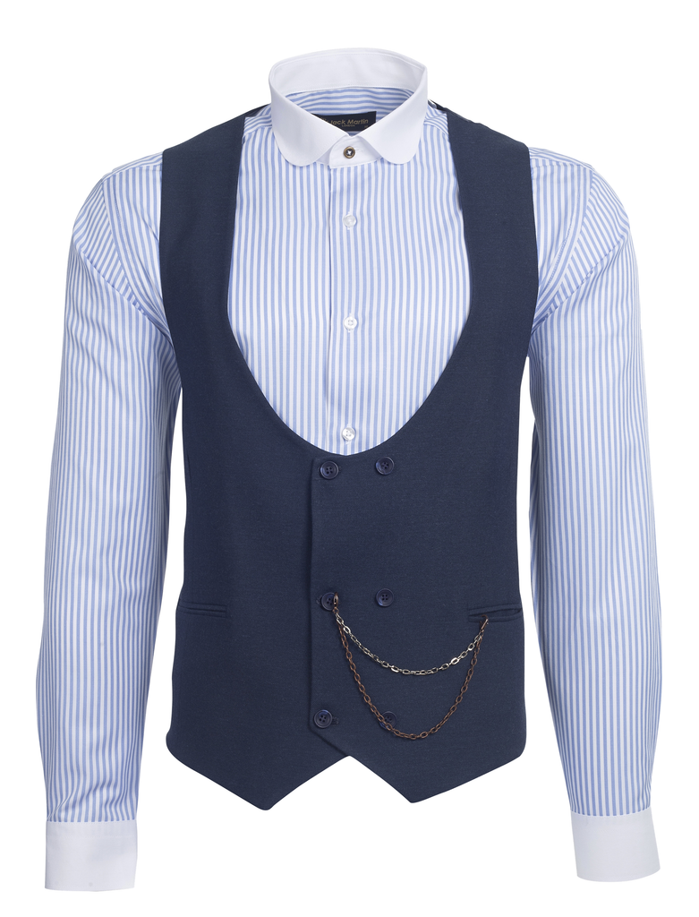 Blue Tweed Double Breasted Waistcoat - Jack Martin Menswear