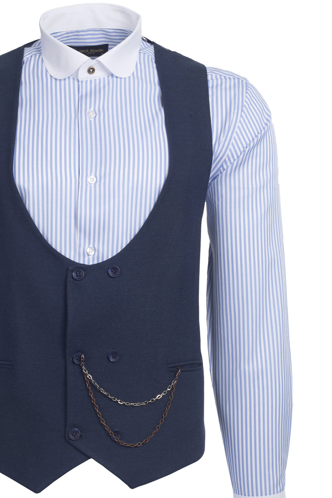 Blue Tweed Double Breasted Waistcoat
