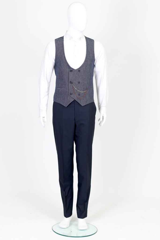 Navy & Multi Colour Diagonal Tweed Waistcoat
