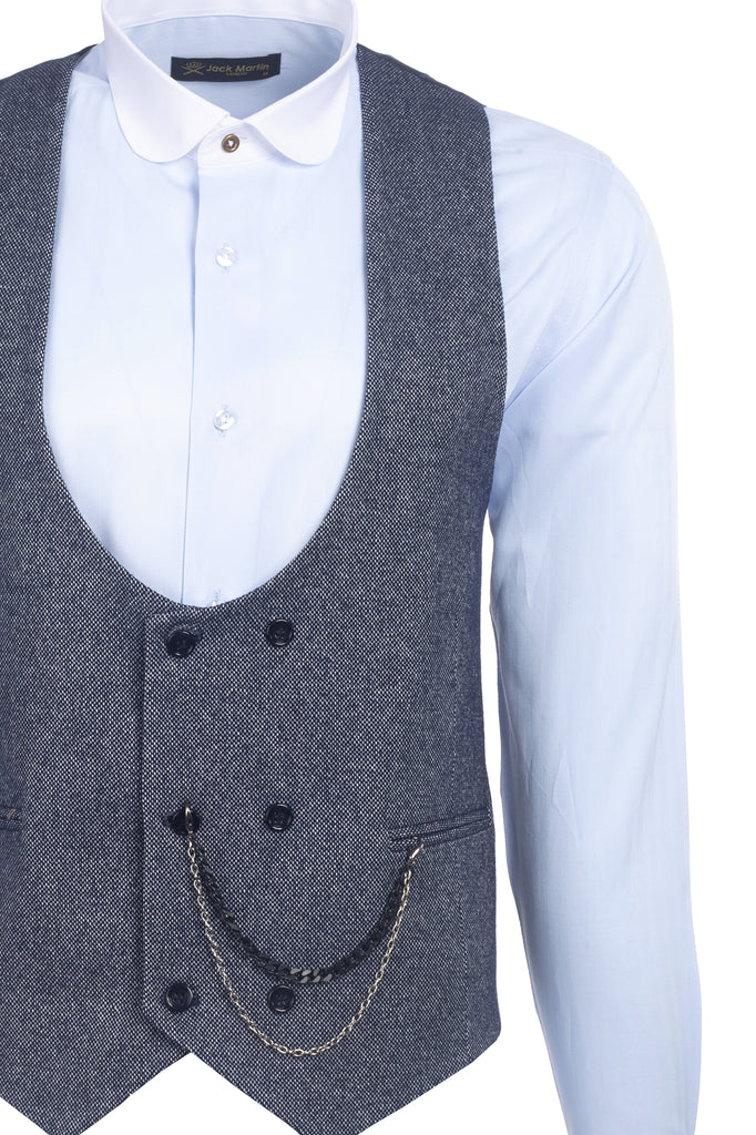 Navy Tweed Double Breasted Waistcoat