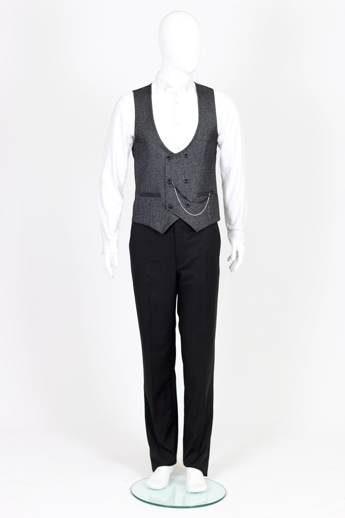 Black Textured Double Breasted Wool Waistcoat