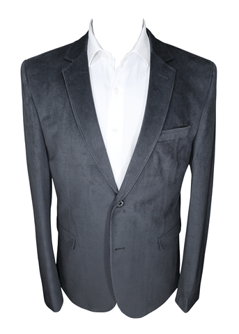Dark Grey Velvet Slim Fit Blazer