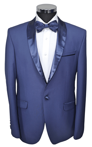 Blue Semi-Slim Fit Jacket with Blue Satin Shawl Collar