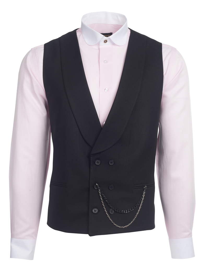 Black Double Breasted Shawl Lapel Tweed-Look Morning Waistcoat - Jack Martin Menswear