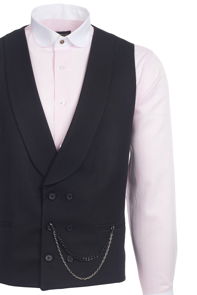 Black Double Breasted Shawl Lapel Tweed-Look Morning Waistcoat