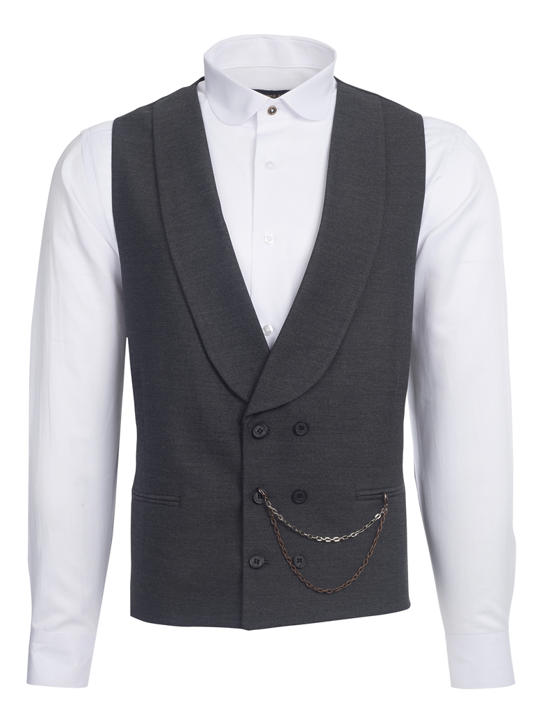 Grey Double Breasted Shawl Lapel Tweed-Look Morning Waistcoat