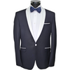 Navy Semi-Slim Fit Suit with White Satin Shawl Collar