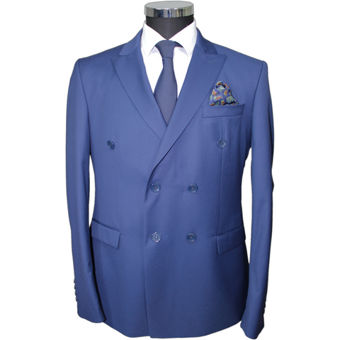 Blue Double Breasted Superior Semi Slim Fit Suit