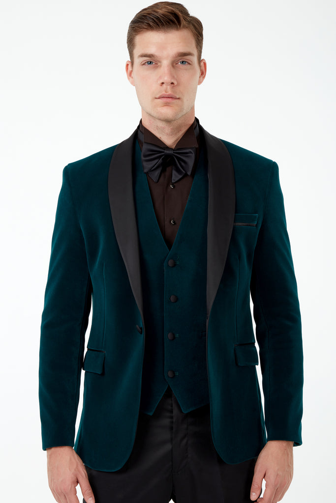 GABRIEL - Emerald Green Velvet 3 Piece Suit / Tuxedo
