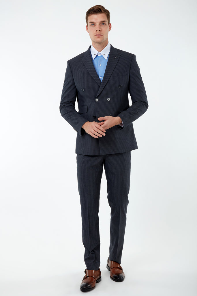 EDWARD - Grey Pinstripe Tailored Fit Double Breasted Suit