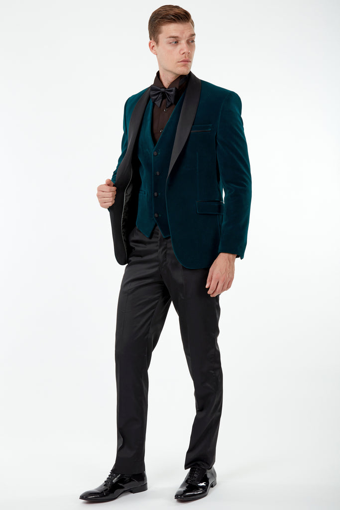 GABRIEL - Emerald Green Velvet Dinner / Tuxedo Jacket