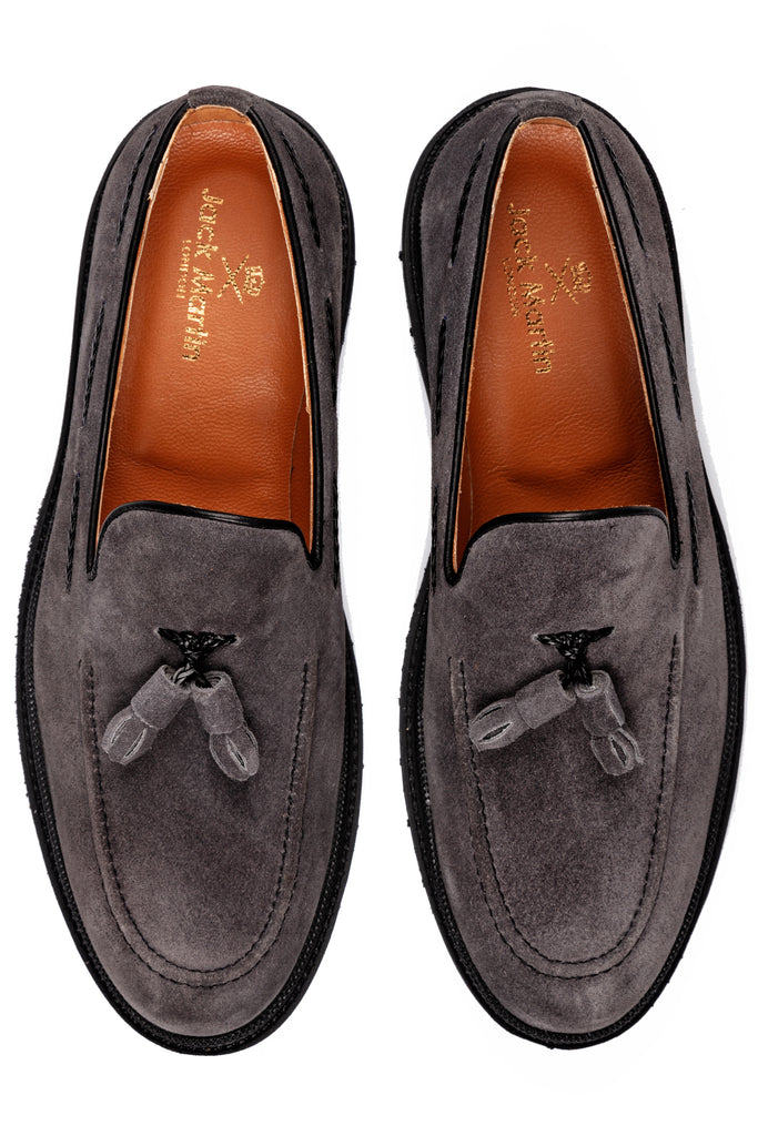 JUDE - Grey Handmade Suede Tassel Loafers with Thick Sole