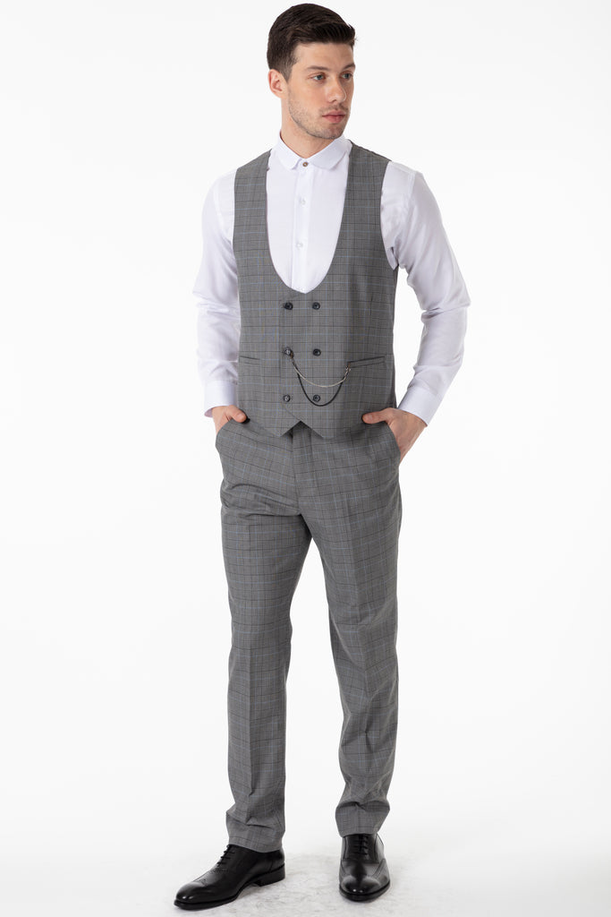 HENRY - Grey Prince of Wales (Glen) Check 3 Piece Suit - Jack Martin Menswear