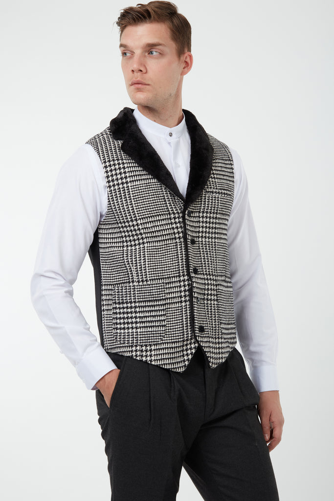 MAX - Black & White Glen Check Tweed-Look Waistcoat with Faux Fur