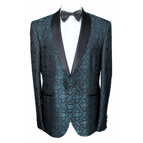 Green & Black Baroque Jacquard Dinner Suit