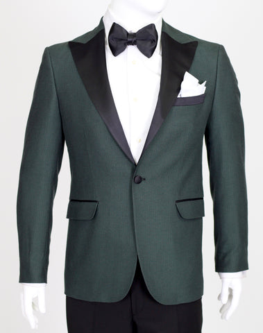 Green Birdseye Wool Suit with Satin Lapel