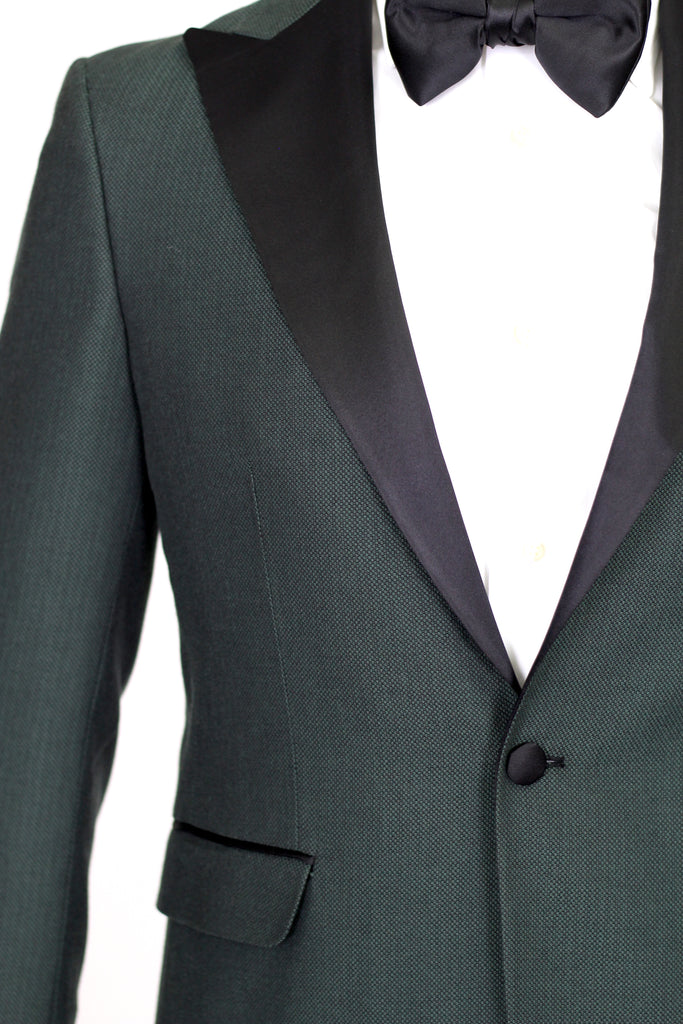 Green Birdseye Wool Blazer with Satin Lapel