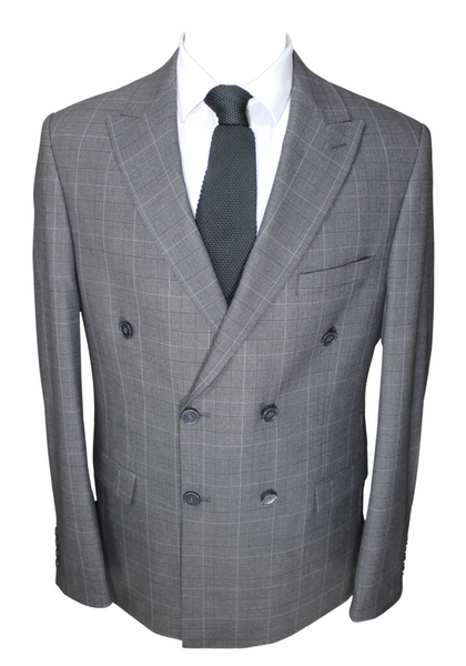 Grey & Black Check Double Breasted Semi Slim Fit Suit
