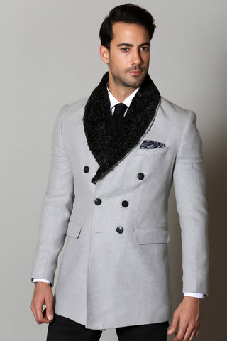 Grey Wool Overcoat with Faux Fur