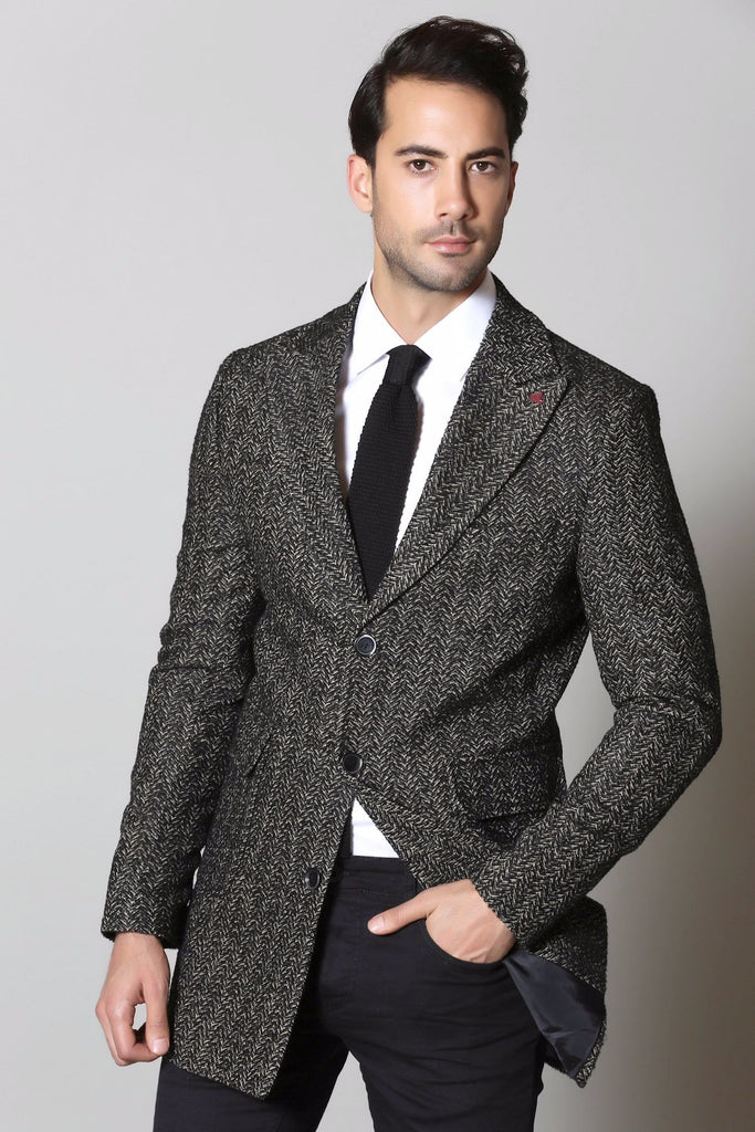 Black & Camel Herringbone Wool Overcoat