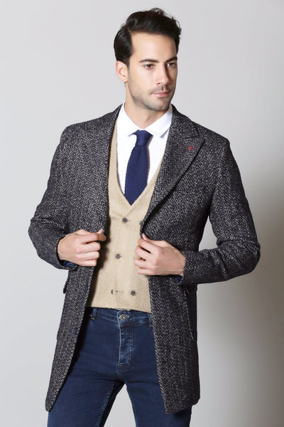 Navy & Camel Herringbone Wool Overcoat
