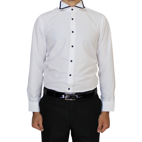 White Trimmed Wing Collar Slim Fit Shirt
