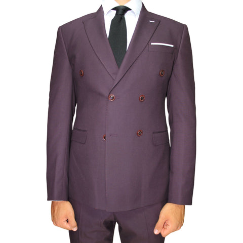 Burgundy Double Breasted Superior Semi Slim Fit Suit