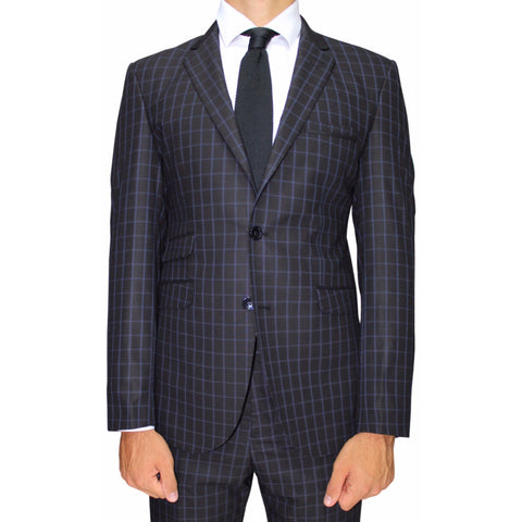 Black Check Semi-Slim Fit Suit (DOLCE)