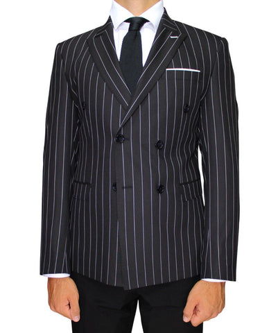 Black Chalk Stripe Double Breasted Superior Semi Slim Fit Blazer