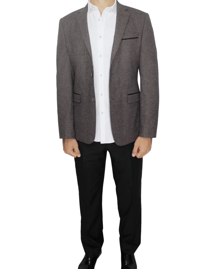 Brown Semi-Slim Fit Blazer in Houndstooth - Jack Martin Menswear
