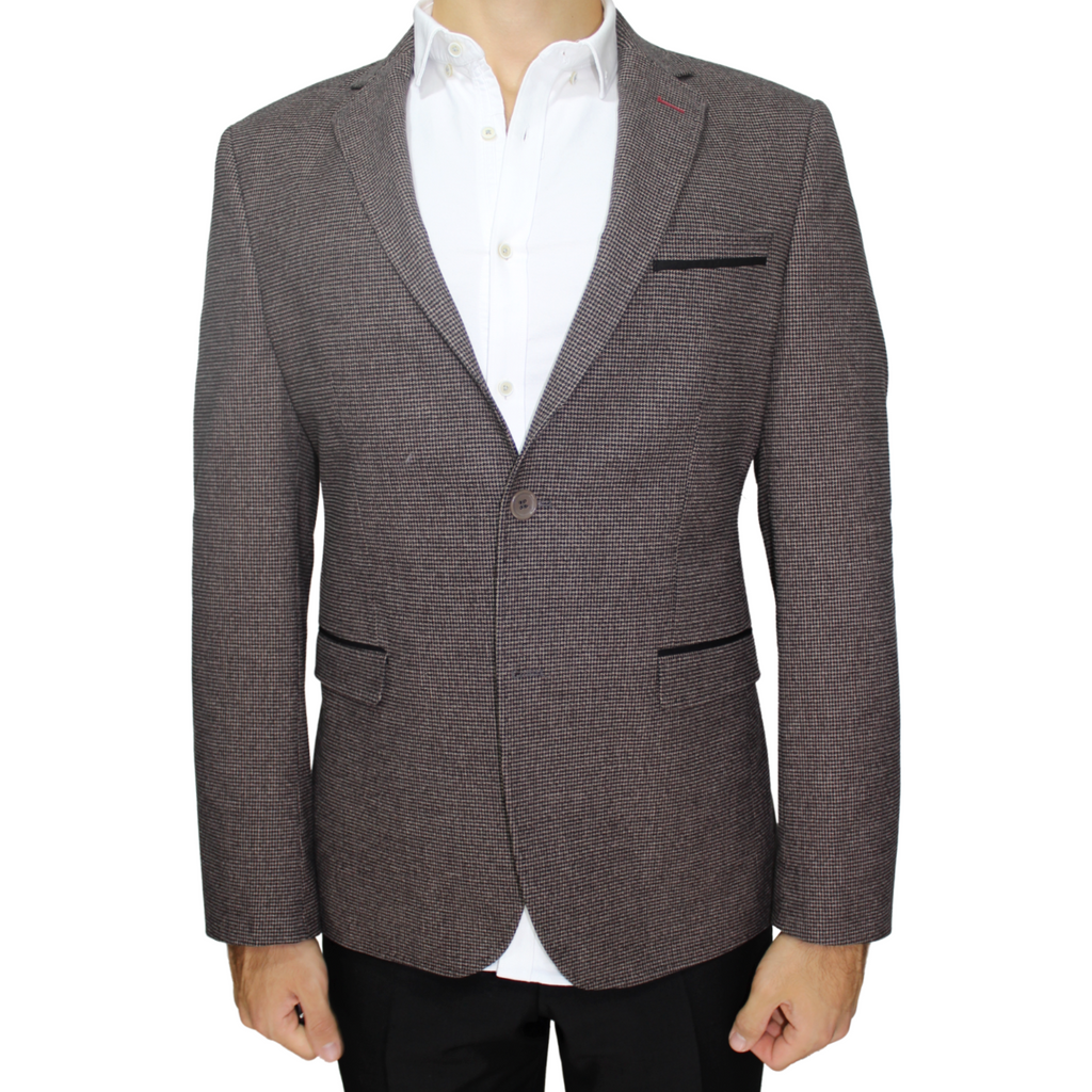 Brown Semi-Slim Fit Blazer in Houndstooth