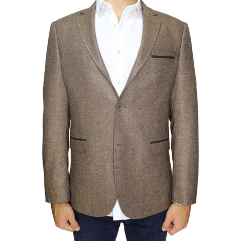 Brown Deluxe Italian Wool Semi-Slim Fit Tweed Blazer