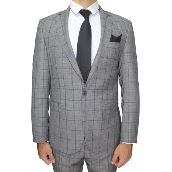 Light Grey Deluxe Italian Semi-Slim Fit Check Suit