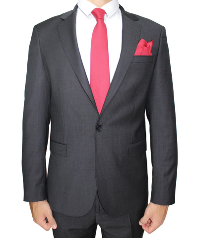 Charcoal Grey Deluxe Italian Semi-Slim Fit Suit in Micro Checks