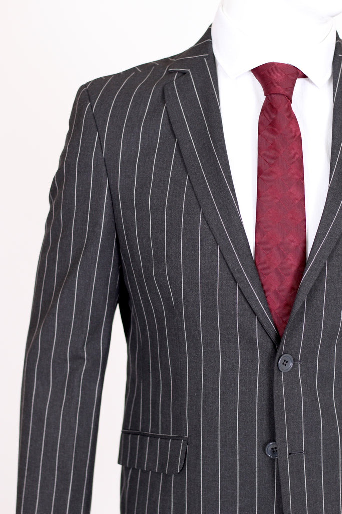 Grey Chalk Stripe 2 Piece Semi Slim Fit Suit