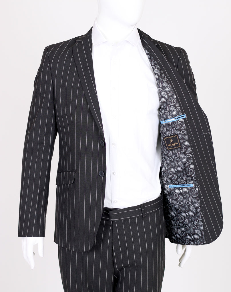 Grey Chalk Stripe 2 Piece Semi Slim Fit Suit - Jack Martin Menswear