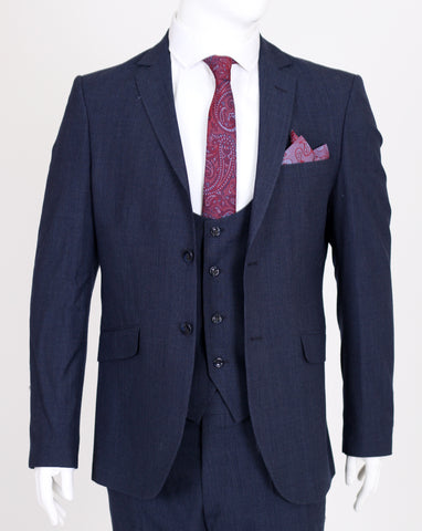 Navy Deluxe Wool 3 Piece Textured Suit