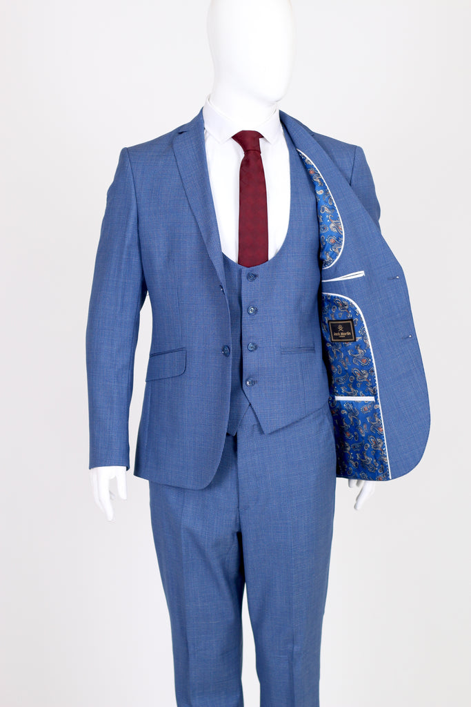 Blue Deluxe Wool 3 Piece Textured Suit - Jack Martin Menswear