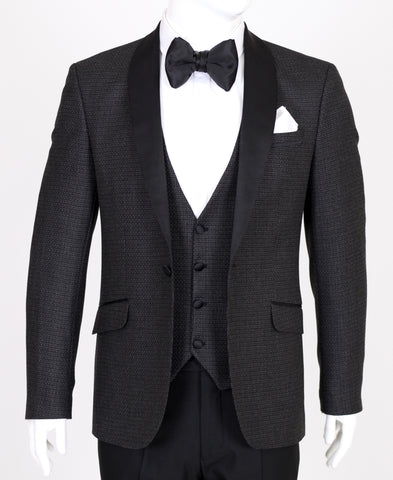 Black & Grey Patterned 3 Piece Suit with Black Shawl Lapel