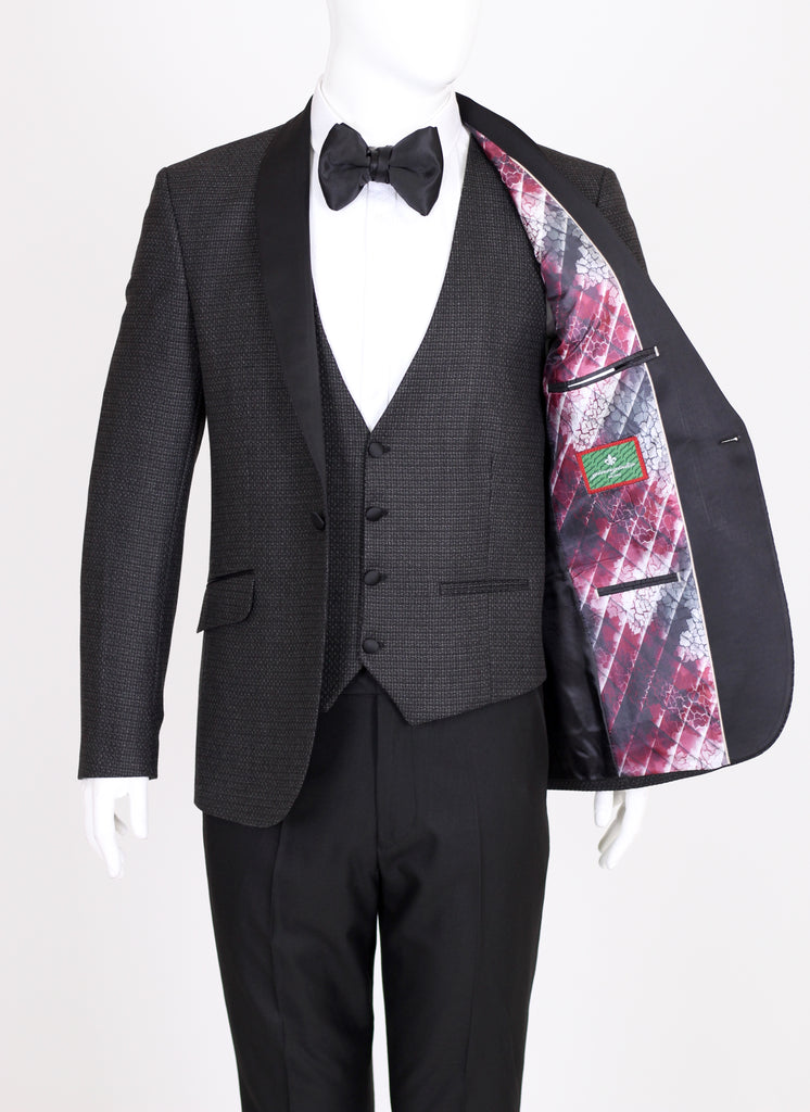 Black & Grey Patterned Dinner Jacket with Black Shawl Lapel