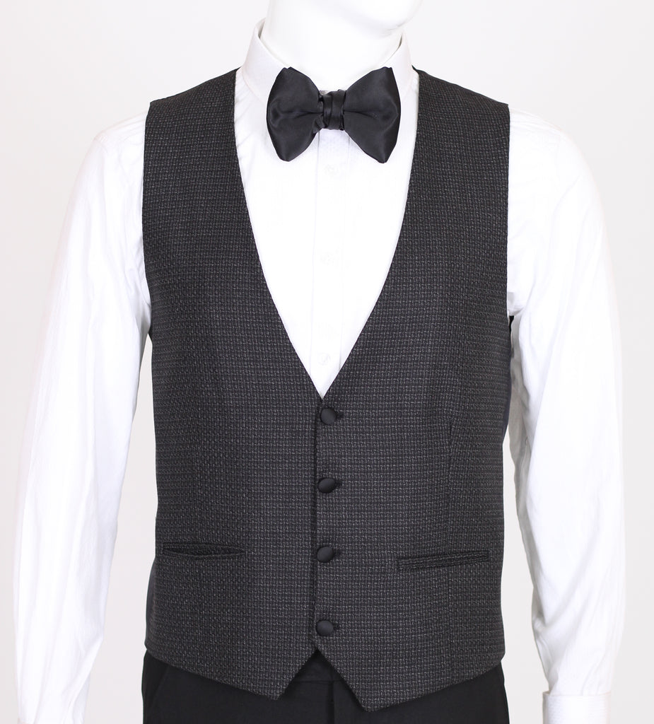 Black & Grey Patterned Dinner Jacket with Black Shawl Lapel - Jack Martin Menswear
