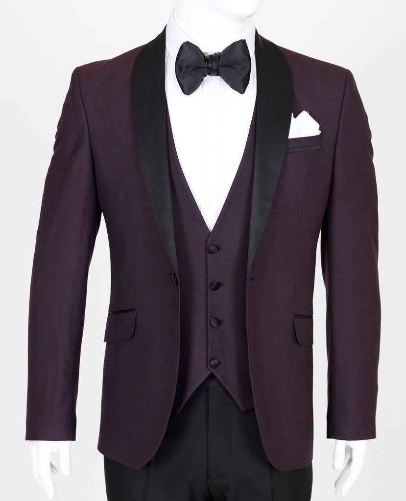 Wine Burgundy Textured Dinner Jacket with Black Shawl Lapel - Jack Martin Menswear