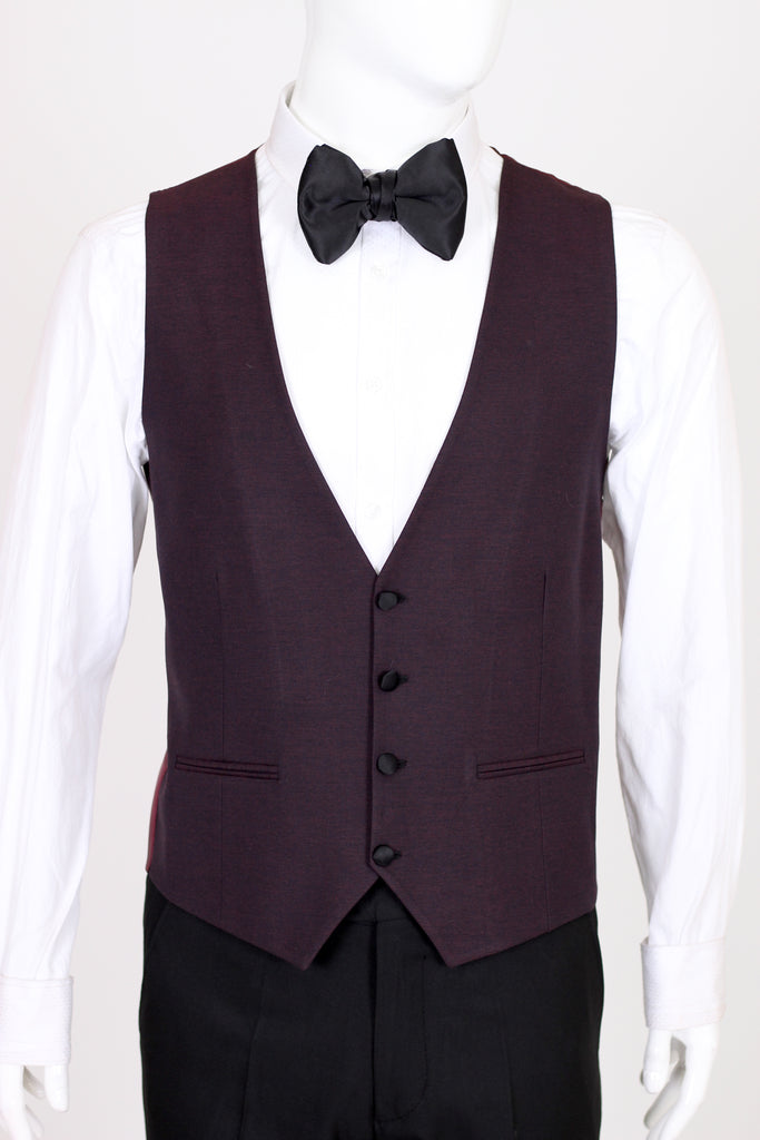 Wine Burgundy Textured 3 Piece Suit with Black Shawl Lapel