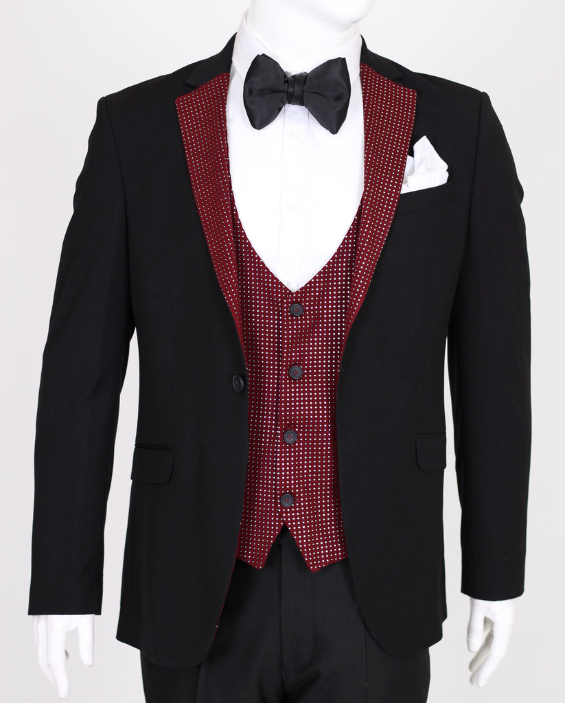 Black 3 Piece Suit with Diamantes on Burgundy Lapel - Jack Martin Menswear